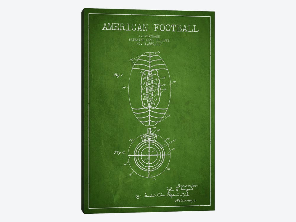 Football Green Patent Blueprint by Aged Pixel 1-piece Canvas Art Print