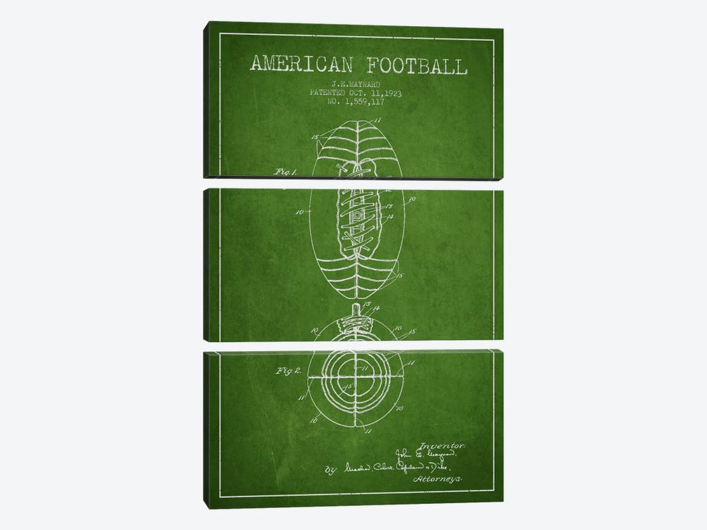 Football Green Patent Blueprint by Aged Pixel 3-piece Canvas Art Print