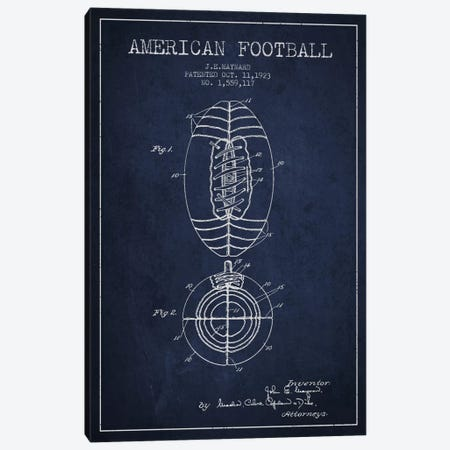 Football Navy Blue Patent Blueprint Canvas Print #ADP2112} by Aged Pixel Canvas Art
