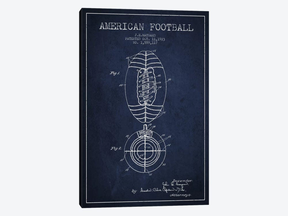 Football Navy Blue Patent Blueprint by Aged Pixel 1-piece Canvas Art