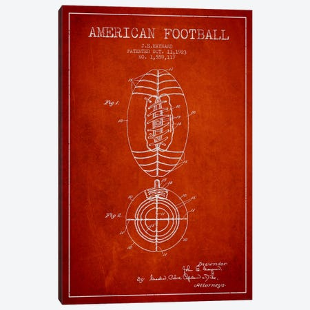 Football Red Patent Blueprint Canvas Print #ADP2113} by Aged Pixel Canvas Artwork
