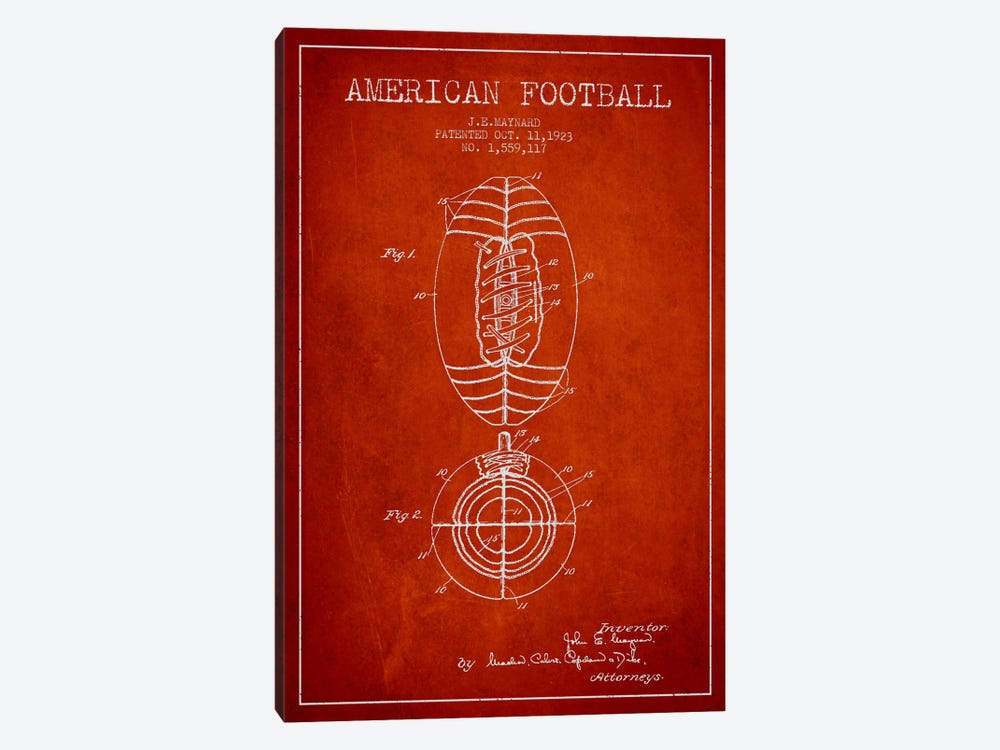 Football Red Patent Blueprint by Aged Pixel 1-piece Art Print