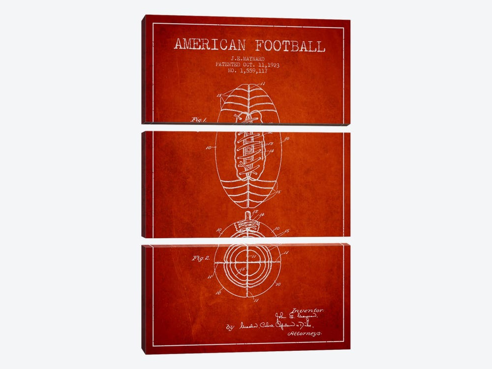 Football Red Patent Blueprint by Aged Pixel 3-piece Canvas Print