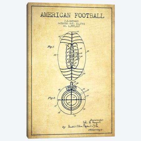 Football Vintage Patent Blueprint Canvas Print #ADP2114} by Aged Pixel Canvas Art Print