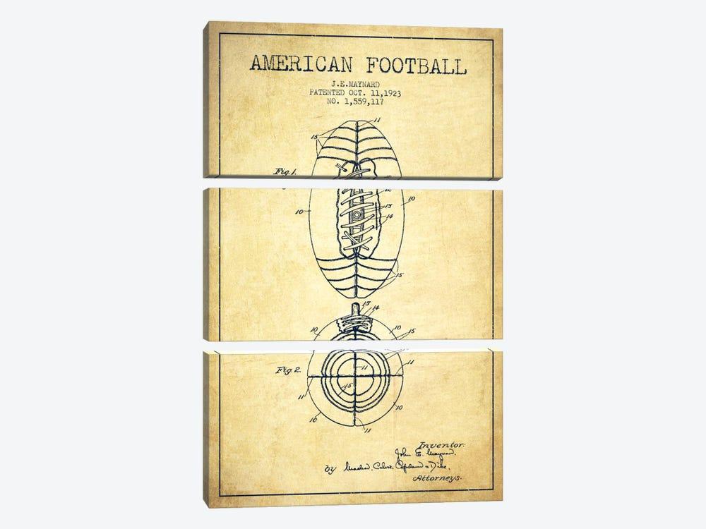 Football Vintage Patent Blueprint by Aged Pixel 3-piece Canvas Artwork