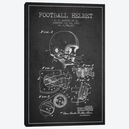 Football Helmet Charcoal Patent Blueprint Canvas Print #ADP2115} by Aged Pixel Art Print