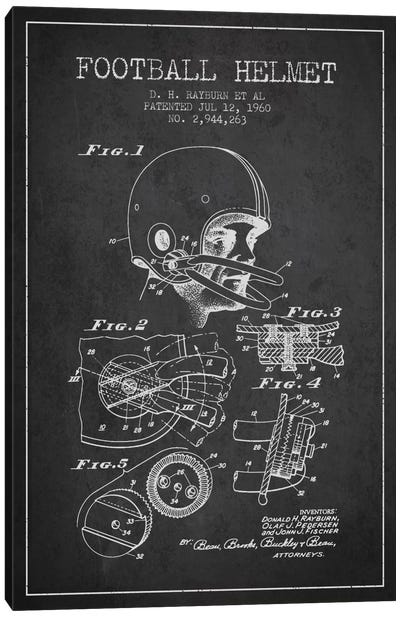 Football Helmet Charcoal Patent Blueprint Canvas Art Print