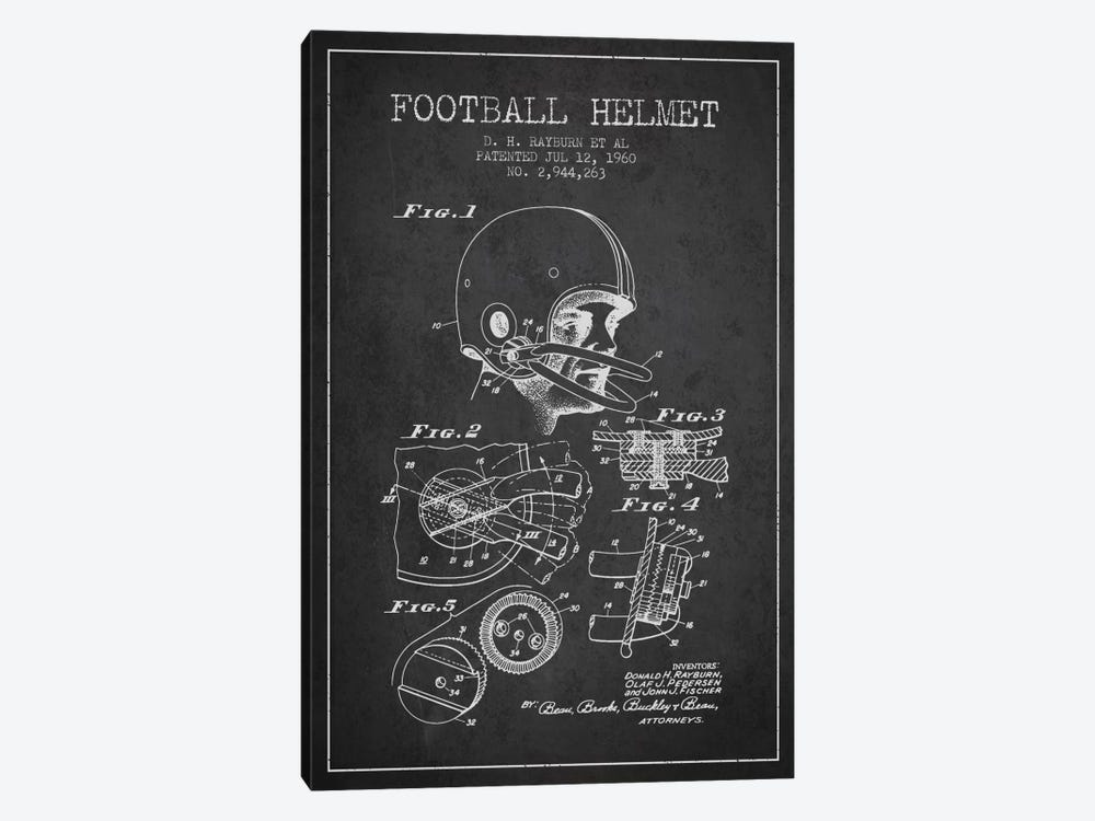 Football Helmet Charcoal Patent Blueprint by Aged Pixel 1-piece Canvas Print