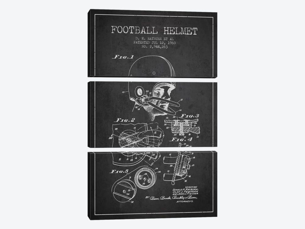 Football Helmet Charcoal Patent Blueprint by Aged Pixel 3-piece Canvas Art Print