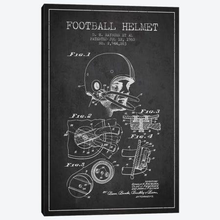 Football Helmet Charcoal Patent Blueprint Canvas Print #ADP2115} by Aged Pixel Art Print
