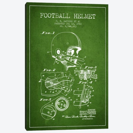 Football Helmet Green Patent Blueprint Canvas Print #ADP2116} by Aged Pixel Canvas Art Print
