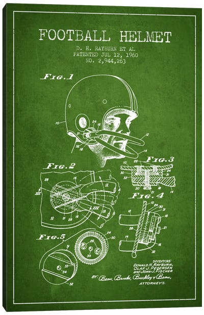Football Helmet Green Patent Blueprint Canvas Art Print
