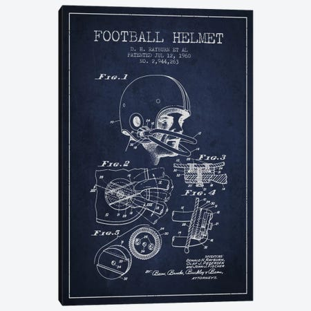 Football Helmet Navy Blue Patent Blueprint Canvas Print #ADP2117} by Aged Pixel Canvas Print