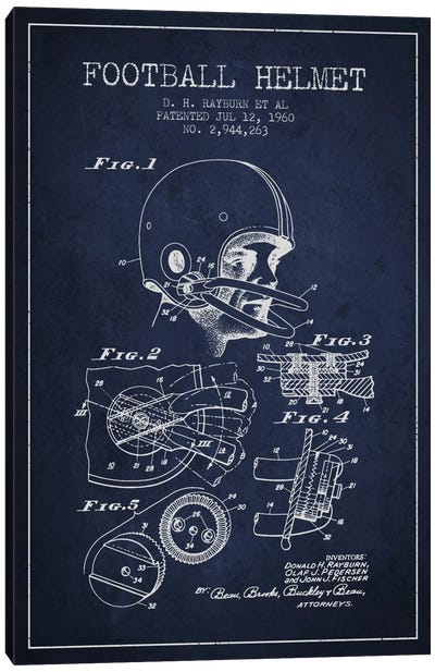 Football Helmet Navy Blue Patent Blueprint Canvas Art Print