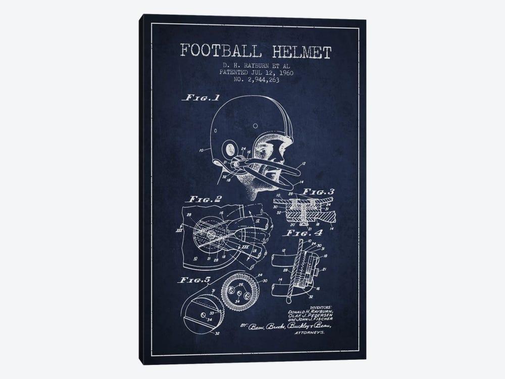 Football Helmet Navy Blue Patent Blueprint by Aged Pixel 1-piece Canvas Art Print