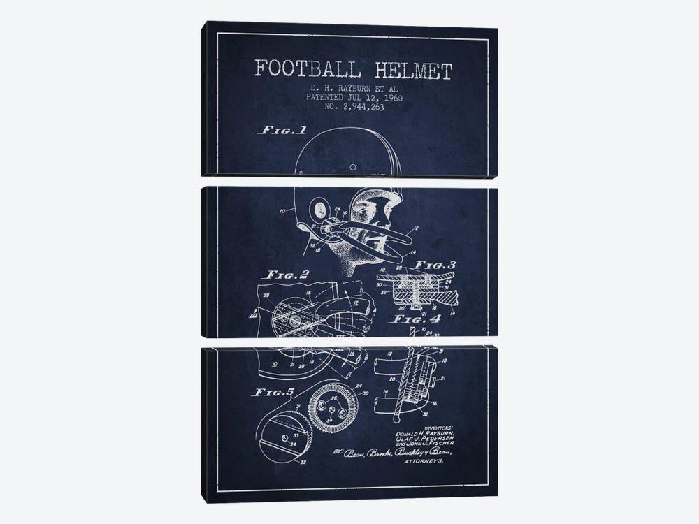 Football Helmet Navy Blue Patent Blueprint by Aged Pixel 3-piece Art Print