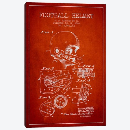 Football Helmet Red Patent Blueprint Canvas Print #ADP2118} by Aged Pixel Canvas Wall Art