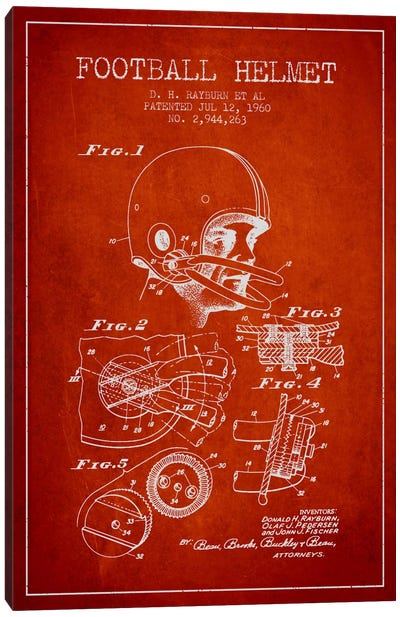 Football Helmet Red Patent Blueprint Canvas Art Print