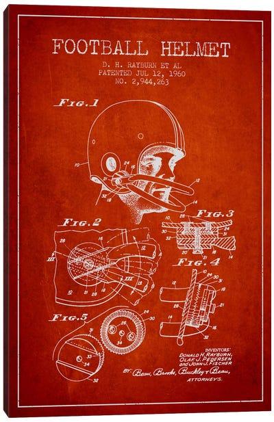 Football Helmet Red Patent Blueprint Canvas Print #ADP2118