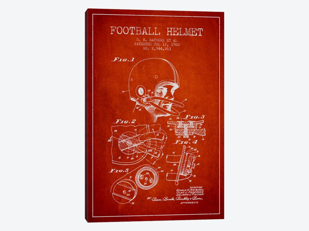 Football Helmet Red Patent Blueprint by Aged Pixel 1-piece Canvas Art