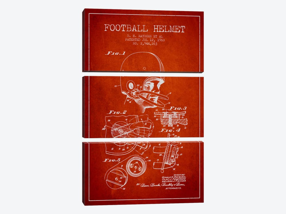 Football Helmet Red Patent Blueprint by Aged Pixel 3-piece Canvas Wall Art