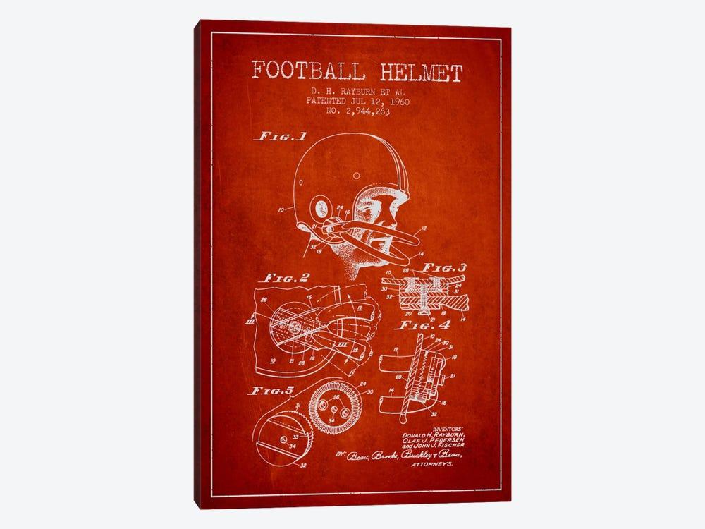 Football Helmet Red Patent Blueprint by Aged Pixel 1-piece Canvas Art
