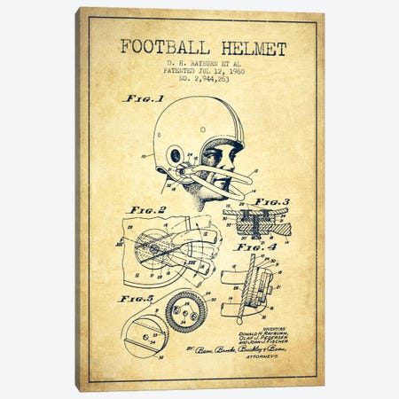Football Helmet Vintage Patent Blueprint Canvas Print #ADP2119} by Aged Pixel Canvas Wall Art