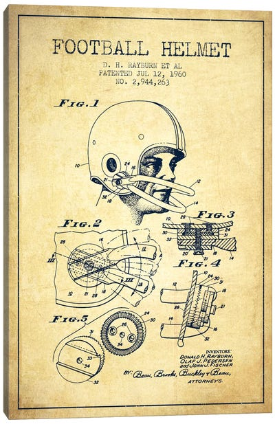 Football Helmet Vintage Patent Blueprint Canvas Art Print