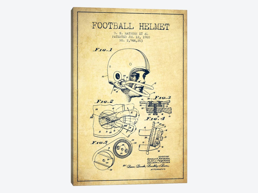 Football Helmet Vintage Patent Blueprint by Aged Pixel 1-piece Canvas Print