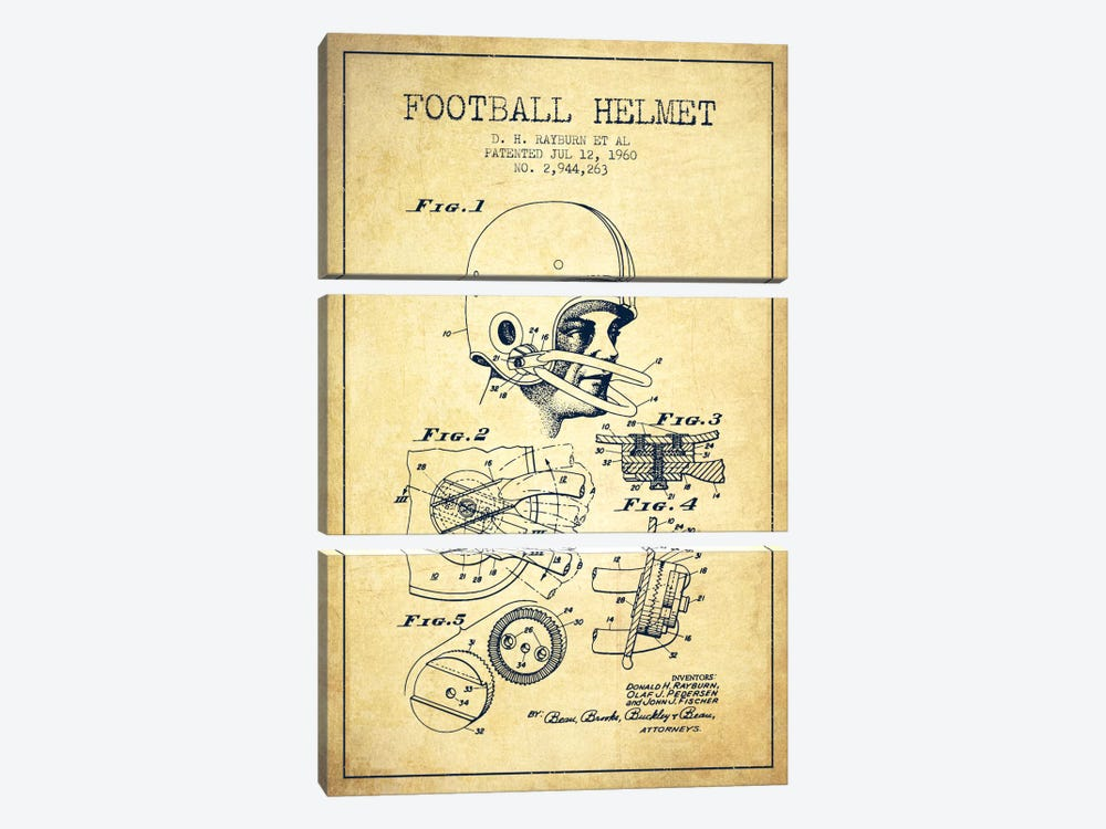 Football Helmet Vintage Patent Blueprint by Aged Pixel 3-piece Art Print