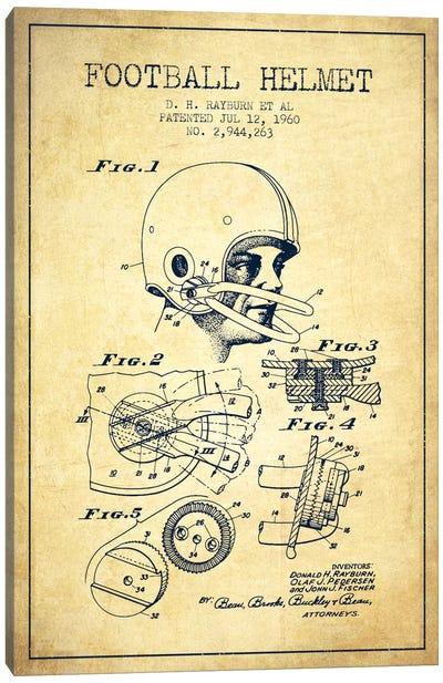 Football Helmet Vintage Patent Blueprint Canvas Art Print