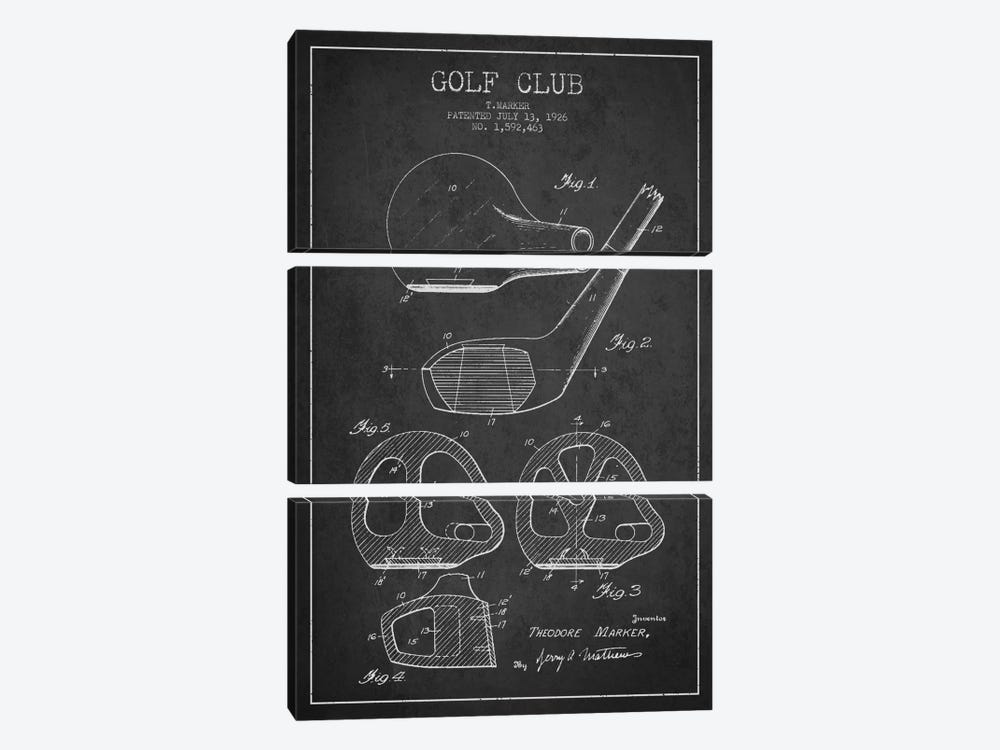 Golf Club Charcoal Patent Blueprint by Aged Pixel 3-piece Canvas Art Print
