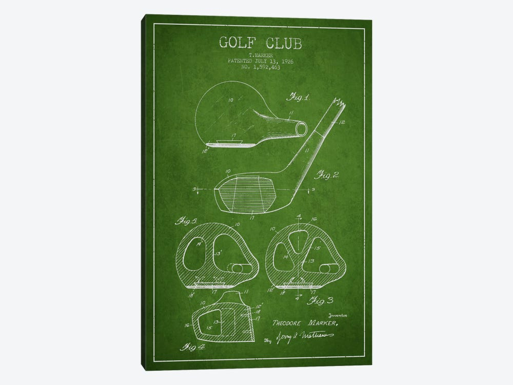 Golf Club Green Patent Blueprint by Aged Pixel 1-piece Canvas Artwork