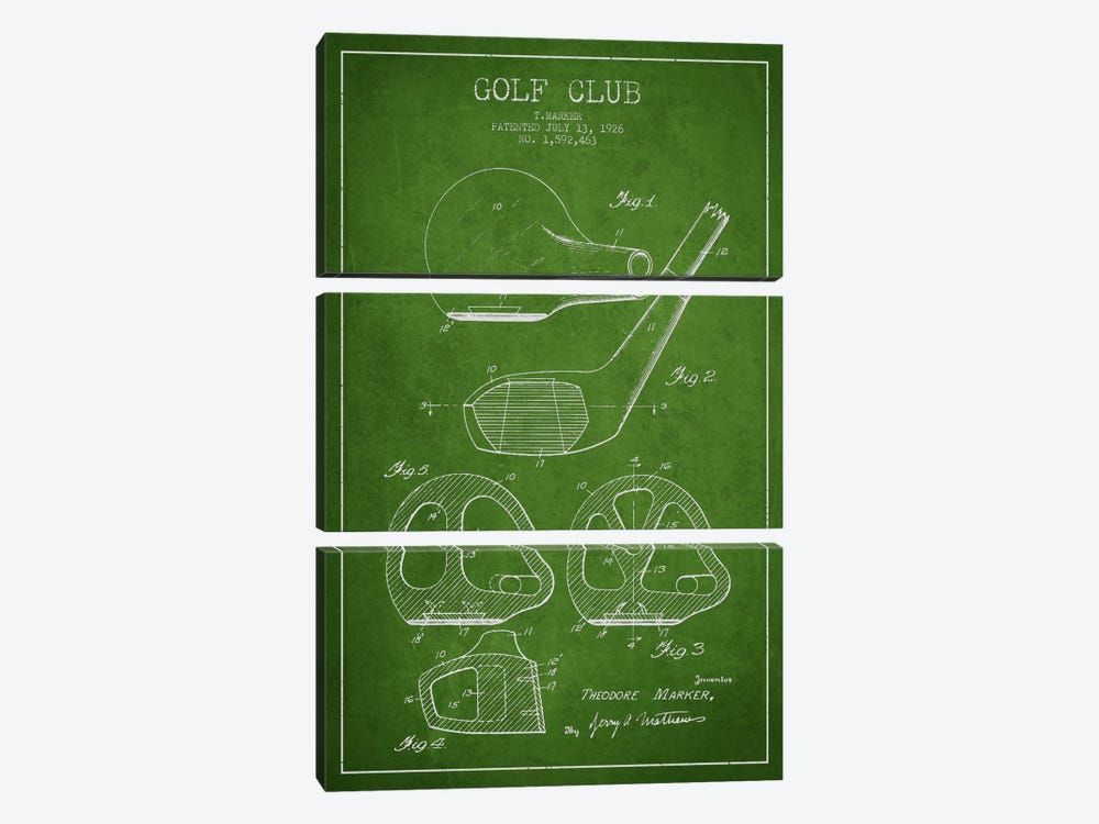 Golf Club Green Patent Blueprint by Aged Pixel 3-piece Canvas Artwork