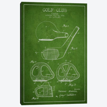 Golf Club Green Patent Blueprint Canvas Print #ADP2121} by Aged Pixel Canvas Art Print