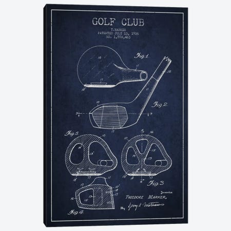 Golf Club Navy Blue Patent Blueprint Canvas Print #ADP2122} by Aged Pixel Art Print