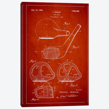Golf Club Red Patent Blueprint Canvas Print #ADP2123} by Aged Pixel Art Print
