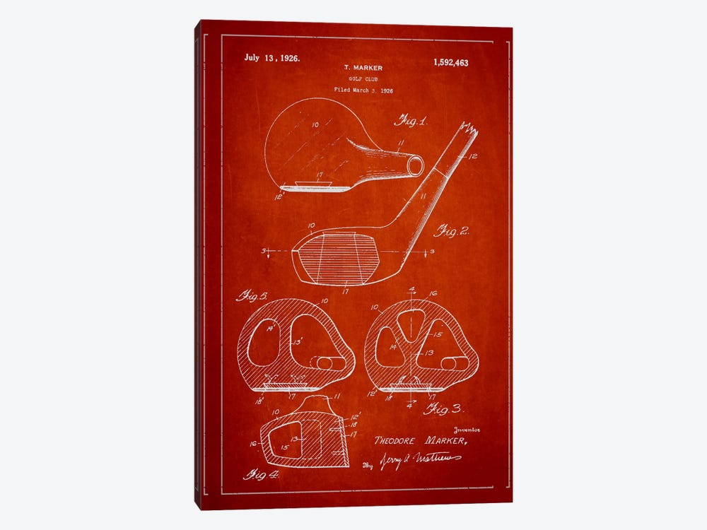 Golf Club Red Patent Blueprint 1-piece Canvas Artwork