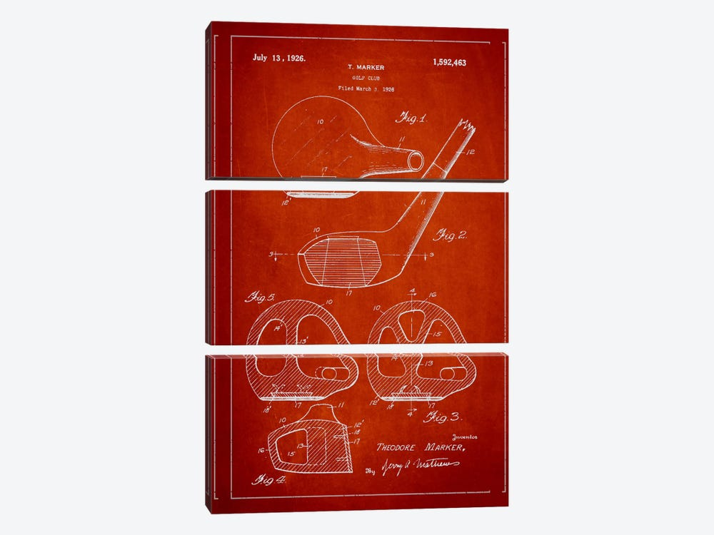 Golf Club Red Patent Blueprint by Aged Pixel 3-piece Canvas Art
