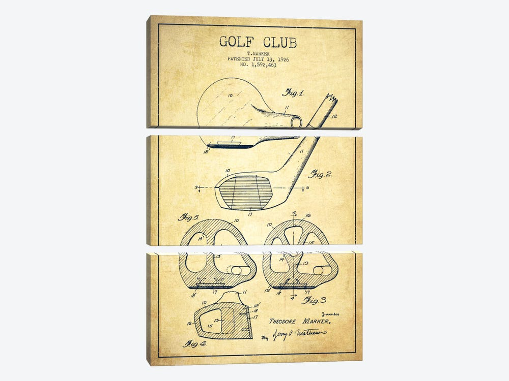 Golf Club Vintage Patent Blueprint by Aged Pixel 3-piece Art Print