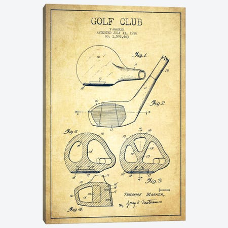 Golf Club Vintage Patent Blueprint Canvas Print #ADP2124} by Aged Pixel Canvas Artwork