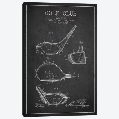 Golf Club Charcoal Patent Blueprint Canvas Print #ADP2125} by Aged Pixel Canvas Art