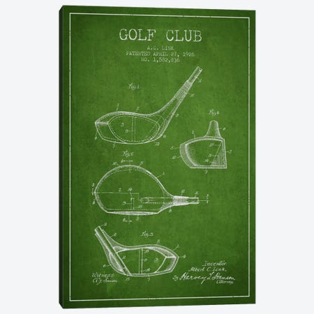 Golf Club Green Patent Blueprint Canvas Print #ADP2126} by Aged Pixel Canvas Artwork