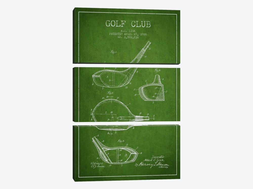 Golf Club Green Patent Blueprint by Aged Pixel 3-piece Art Print