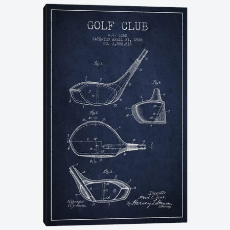 Golf Club Navy Blue Patent Blueprint Canvas Print #ADP2127} by Aged Pixel Canvas Art