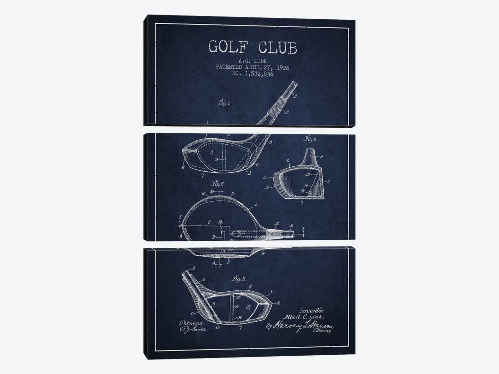 Golf Club Navy Blue Patent Blueprint by Aged Pixel 3-piece Canvas Artwork