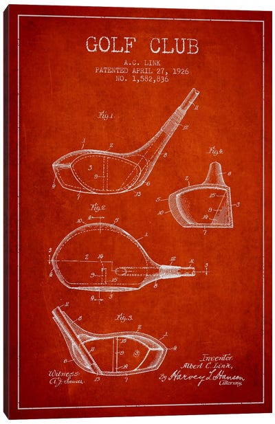 Golf Club Red Patent Blueprint Canvas Art Print