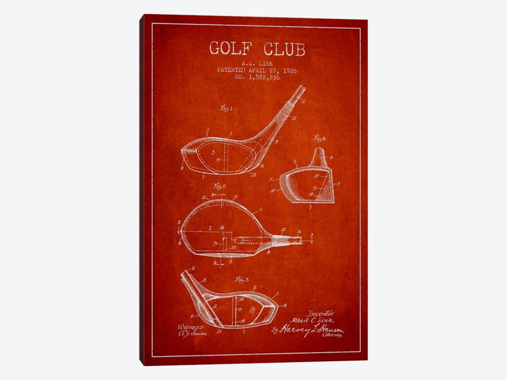 Golf Club Red Patent Blueprint by Aged Pixel 1-piece Art Print