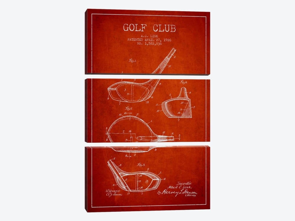 Golf Club Red Patent Blueprint by Aged Pixel 3-piece Canvas Art Print