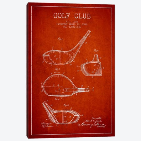 Golf Club Red Patent Blueprint Canvas Print #ADP2128} by Aged Pixel Canvas Print